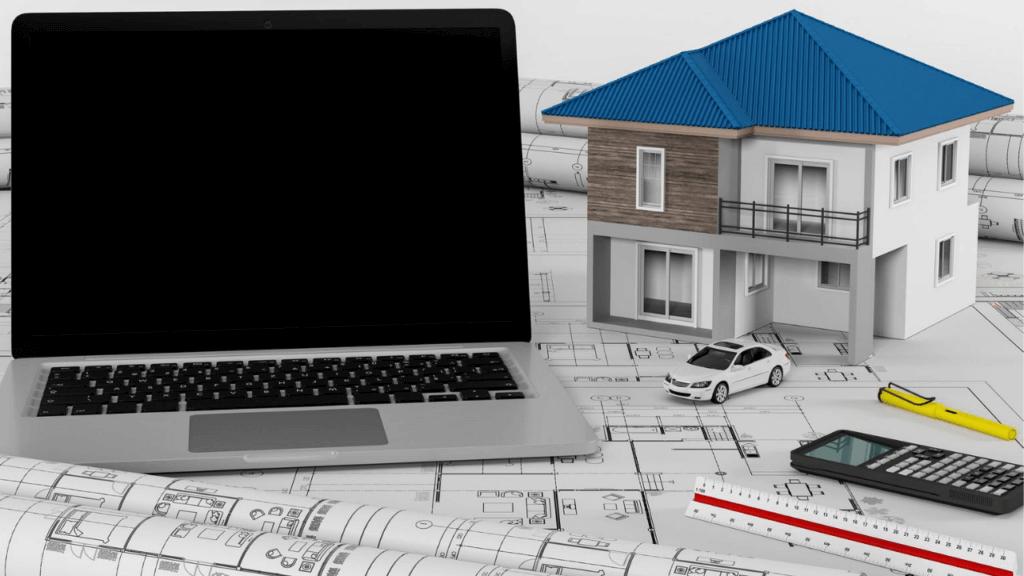 住宅の模型と設計図